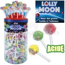 Sucettes acides lolly moon - tubo présentoir de 150