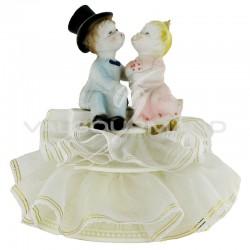 Figurine les Mariés rétro sur socle H. 12cm - pièce en stock