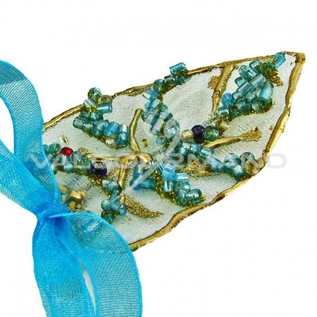 Feuilles or et Perles turquoises - 6 pièces