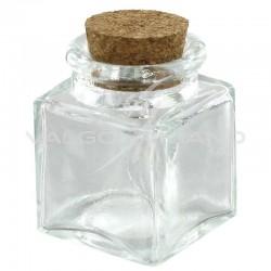 Mini pots carré avec bouchon en liège - 12 pièces