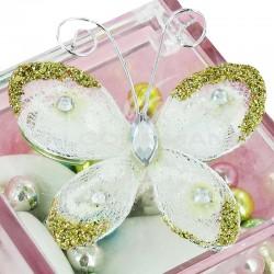 Papillon autocollant BLANC - 4 pièces (soit 0.49€ pièce !) en stock