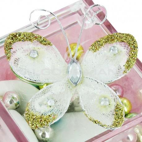 Papillon autocollant BLANC - 4 pièces (soit 0.49€ pièce !)