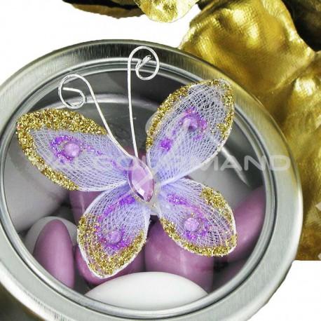 Papillons autocollants LILAS - 4 pièces