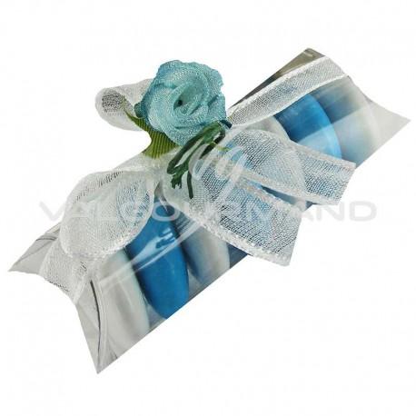 Etuis transparents, roses Bleues et ruban Blanc - 50 pièces