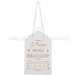 Pancarte blanche avec message Je t aime en OR - pièce en stock