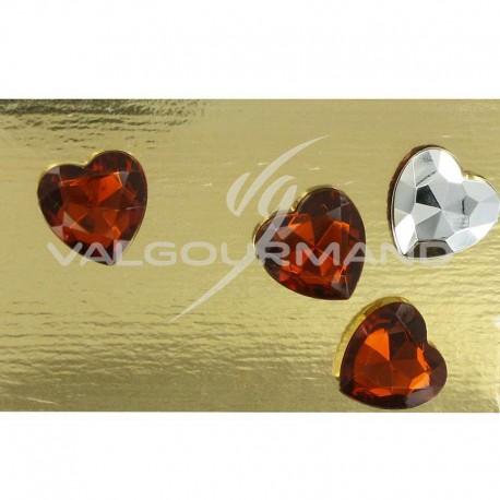 Diamants Coeur 1,50CM CHOCOLAT - 24 pièces