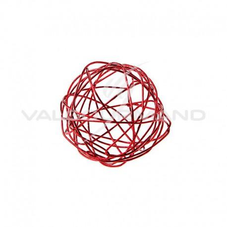 Boules en fil métal ROUGE 4CM - 12 pièces
