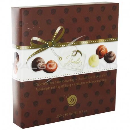 Escargots en chocolat fourrés praliné - boîte de 250g