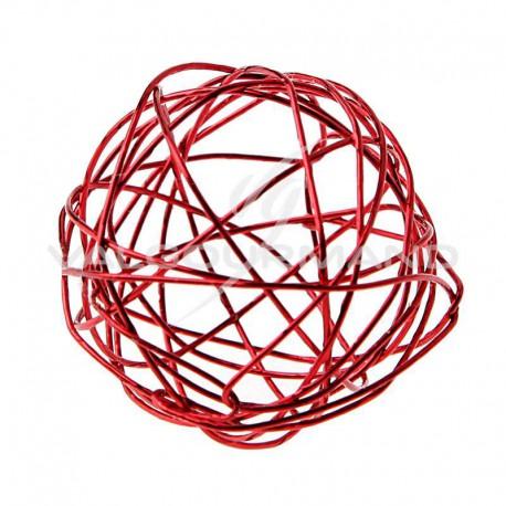 Boules en fil métal ROUGE 6CM - 6 pièces