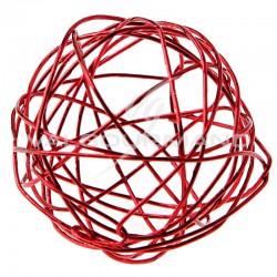 Boules en fil métal ROUGE 9CM - 4 pièces