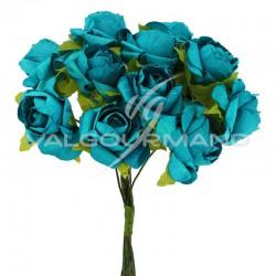 Bouquet de 12 roses TURQUOISE - le bouquet