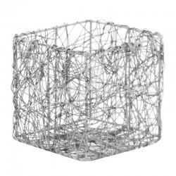 Pots carré en fil métal ARGENT - 4 pièces en stock