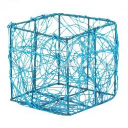 Pots carré en fil métal TURQUOISE - 4 pièces