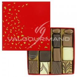 Coffret Paillettes garni de chocolats et d'Equinoxes VALRHONA - 145g en stock