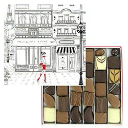 Coffret Paris PM garni de chocolats et Equinoxes VALRHONA - 360g en stock