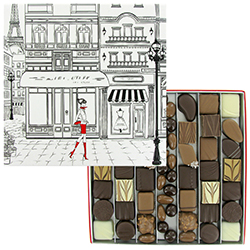 Coffret Paris GM garni de chocolats et Equinoxes VALRHONA - 515g en stock