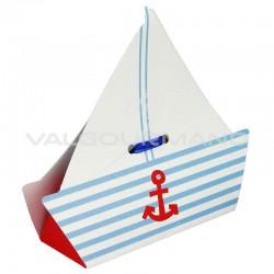 Ballotin Bateau et ruban bleu OFFERT - 10 pièces (soit 0.69€ pièce !) en stock
