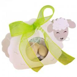 Ballotin Mouton et ruban 15mm blanc OFFERT - 25 pièces (soit 0.99€ pièce !) en stock