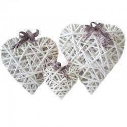 Coeur en osier blanchis à suspendre - 3 modèles assortis en stock