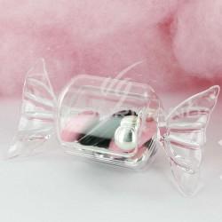 Boîte forme bonbon en plexiglass - 25 pièces (soit 0.34€ pièce !) en stock