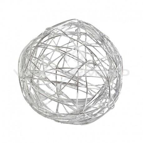 Boules en fil métal ARGENT 6CM - 6 pièces