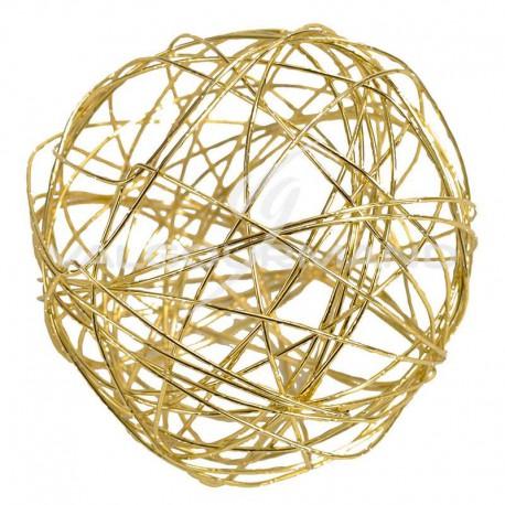 Boules en fil métal OR 9CM - 4 pièces
