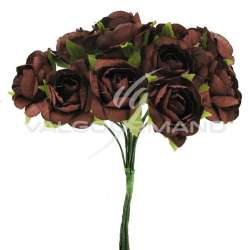Bouquet de 12 roses CHOCOLAT - le bouquet en stock