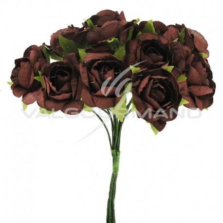 Bouquet de 12 roses CHOCOLAT - le bouquet