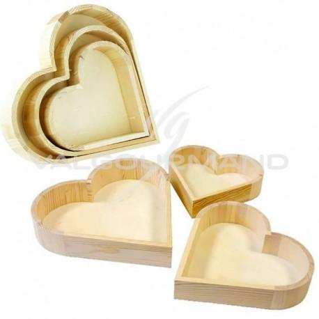 Présentoirs Coeurs en bois NATUREL - 3 modèles assortis